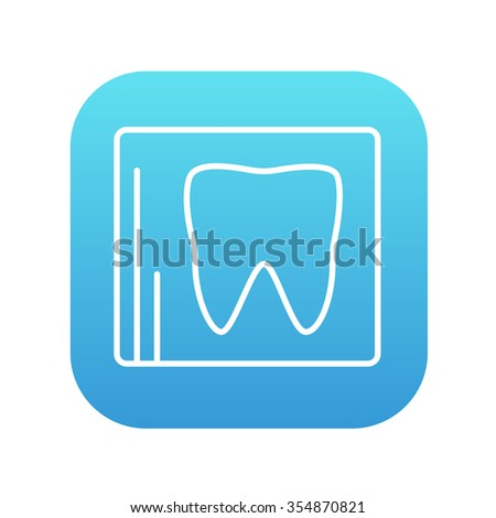 X-ray of the tooth line icon for web, mobile and infographics. Vector white icon on the blue gradient square with rounded corners isolated on white background. - stock vector