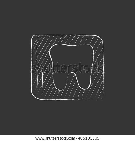 X-ray of tooth. Drawn in chalk icon. - stock vector