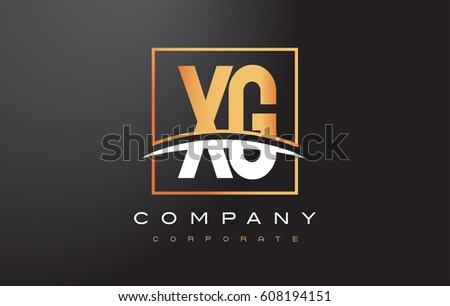 XG X G Golden Letter Logo Design with Swoosh and Rectangle Square Box Vector Design.