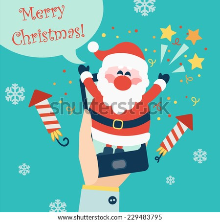 Xmas and New Year holidays design. Flat vector illustration.  Concept for mobile apps. - stock vector