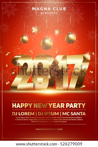 Xmas and New Year party club poster. 2017 3d typography. Modern design for a holiday party. Red and Gold colors. Eps10 vector template.