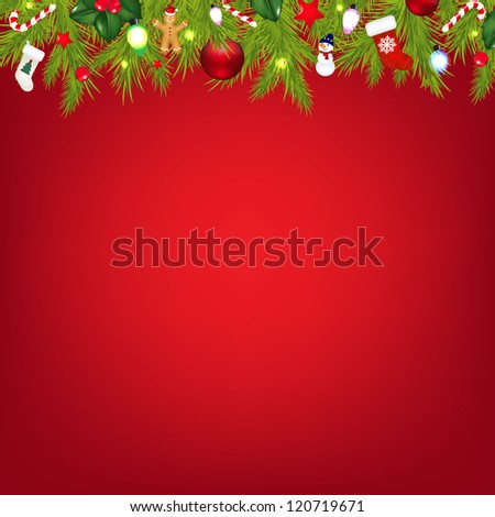 Xmas Border With Color Garland With Gradient Mesh, Vector Illustration - stock vector