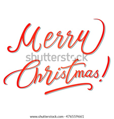 Xmas card calligraphy, vector illustration
