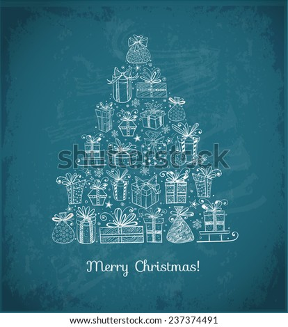 Xmas card with Christmas tree made of sketchy gift boxes on blackboard - stock vector