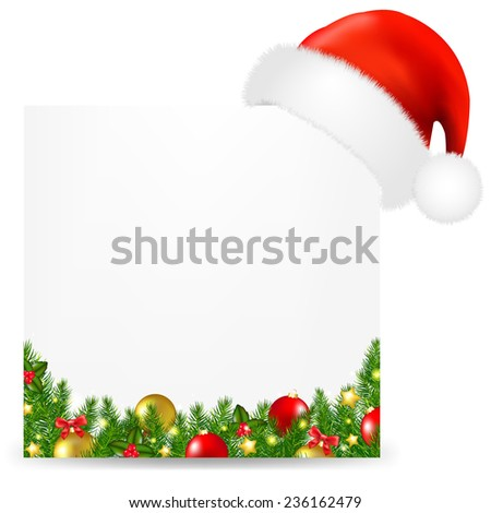 Xmas Card With Santa Hat And Text With Gradient Mesh, Vector Illustration - stock vector