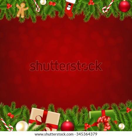 Xmas Christmas Borders With Gradient Mesh, Vector Illustration - stock vector