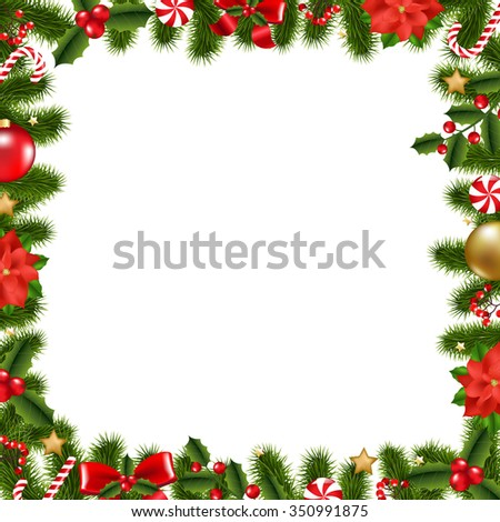 Xmas Frame With Gradient Mesh, Vector Illustration - stock vector