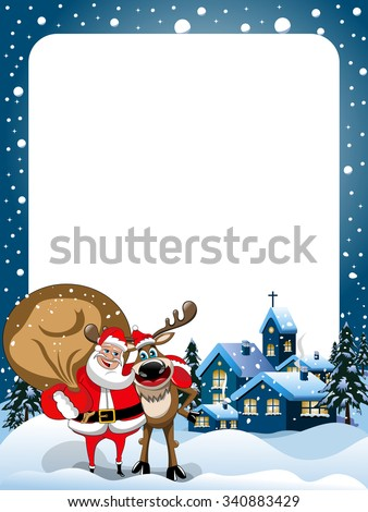 Xmas Frame with Reindeer and Santa Claus hugging in the snow at xmas night - stock vector