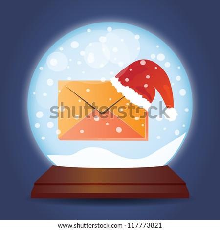Xmas glass ball with snow Christmas mail - stock vector