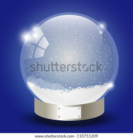 Xmas glass ball with snow inside - stock vector