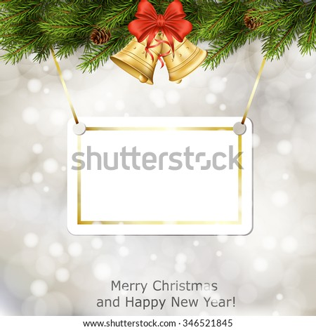 Xmas greeting card with fir branches and Christmas bells. Vector eps10 illustration - stock vector
