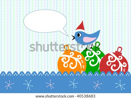 Xmas greeting card with xmas balls and bird - stock vector