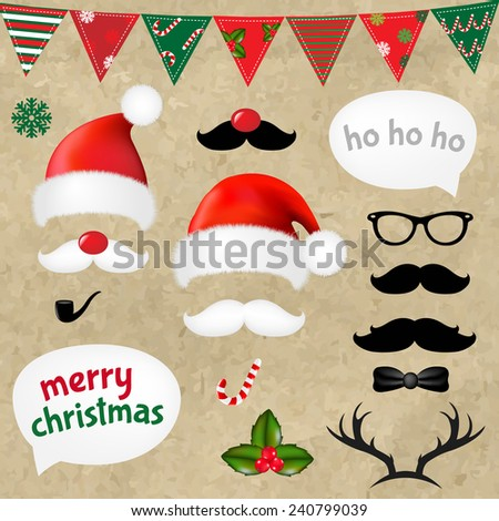 Xmas Hipster Set With Gradient Mesh, Vector Illustration - stock vector