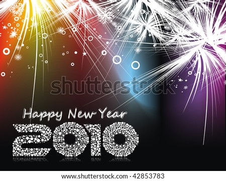 Xmas snow background with  new year 2010  in rainbow background. Vector illustration - stock vector
