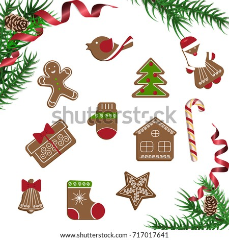 Xmas theme top view on white table background. Merry Christmas greeting poster with pine branch and Gingerbreads. Vector illustration eps 10