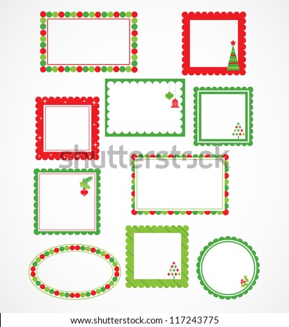 Xmas vector stickers and picture frames - stock vector