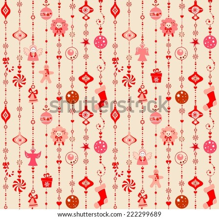 Xmas wallpaper with funny toys - stock vector