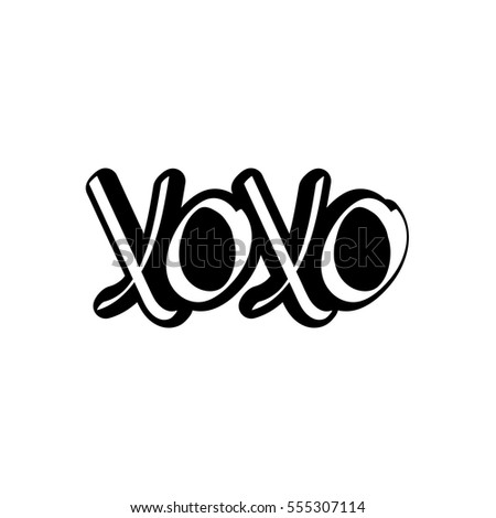 Xoxo hugs and kisses isolated sticker calligraphy lettering valentines day words