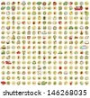 XXL Collection of 289 doodled icons for every occasion No.2 with shadows, on background, in colours. Individual illustrations are isolated and in eps10 vector mode. - stock photo