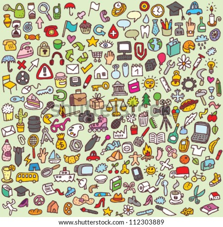 XXL Doodle Icon Set : collection of numerous small hand-drawn icon illustrations - stock vector