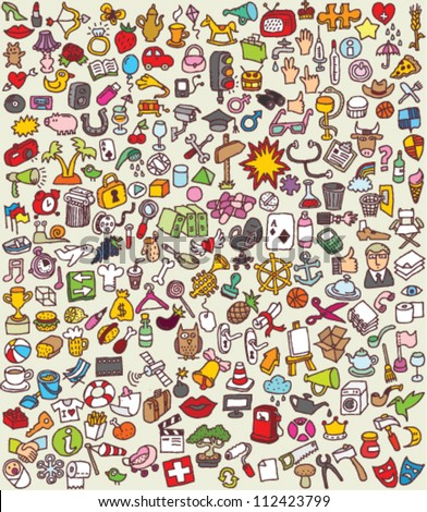 XXL Doodle Icons Set : collection of numerous small hand-drawn illustrations - stock vector