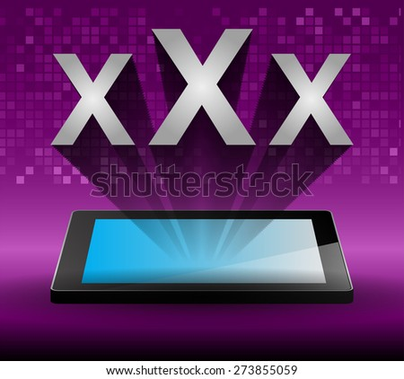 xxx icon on tablet monitor, vector. Tablet pc with text Adults Only with purple background. Technology background for computer graphic website internet and business. for men. - stock vector