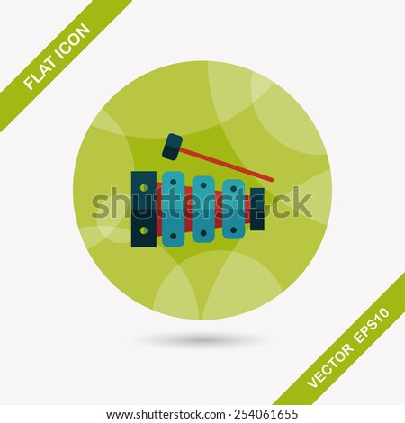 Xylophone flat icon with long shadow,eps10 - stock vector