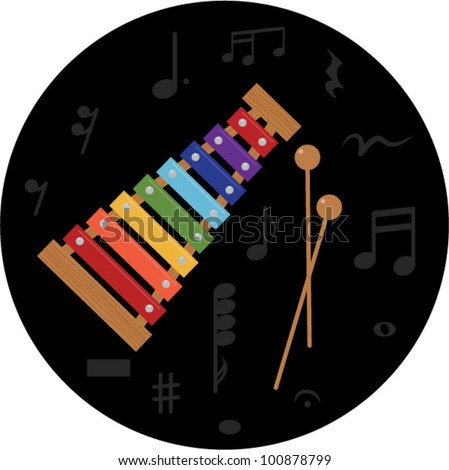 Xylophone, musical instrument for kids,vector illustration - stock vector