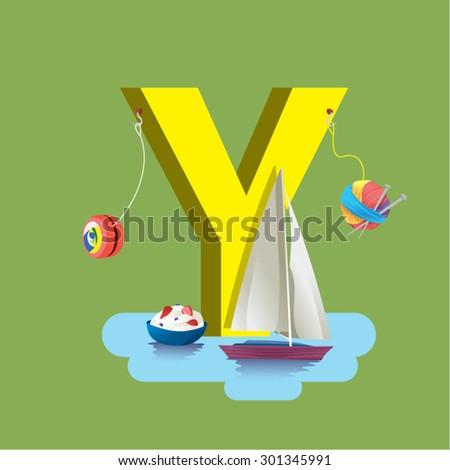 Y - Children learning alphabet education set. Yoyo, yarn, yacht, yogurt, yellow. - stock vector