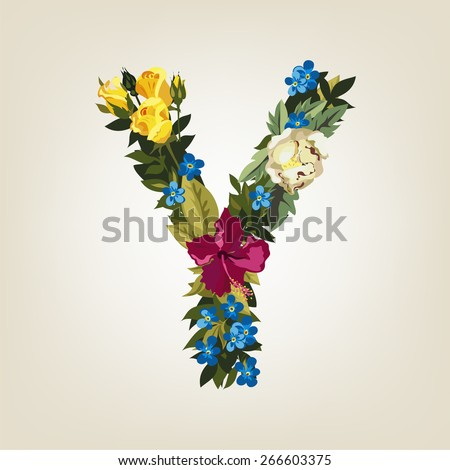Y letter. Flower capital alphabet. Colorful font. Uppercase.  Vector illustration. - stock vector