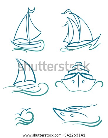 yacht and sailboats symbols on white - stock vector