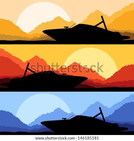 Yacht, boat sailing vector background evening landscape illustration - stock vector