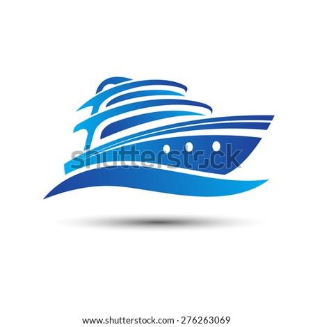 Yacht boat symbol vector.illustration - stock vector