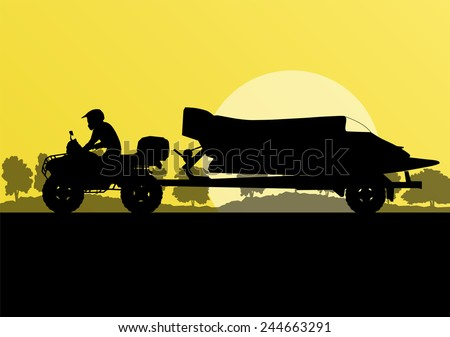 Yacht boat trailer vector background landscape with all terrain vehicle - stock vector