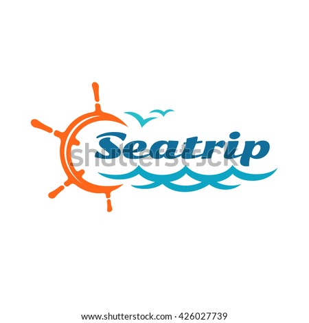 Yacht helm wheel logo with marine sea waves and seagulls silhouettes. Sea or ocean ship cruise travel concept. - stock vector