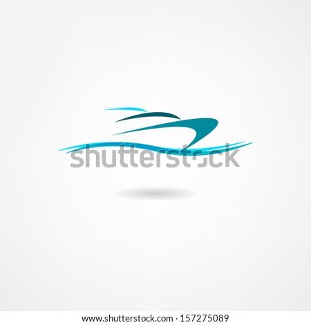 yacht icon - stock vector