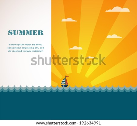 Yacht in the sea at sunset  - stock vector
