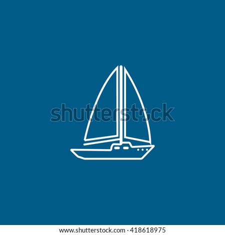 Yacht line icon on blue background