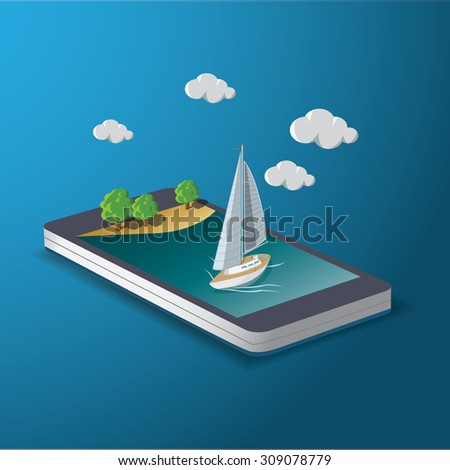 Yacht on smart phone. Trip and travel concept. vector illustration. - stock vector