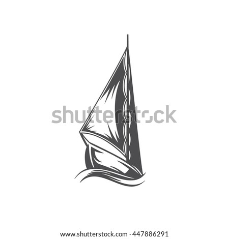 Yacht on wave Isolated on white background vector icon in retro style. Can be used for logo or badge.