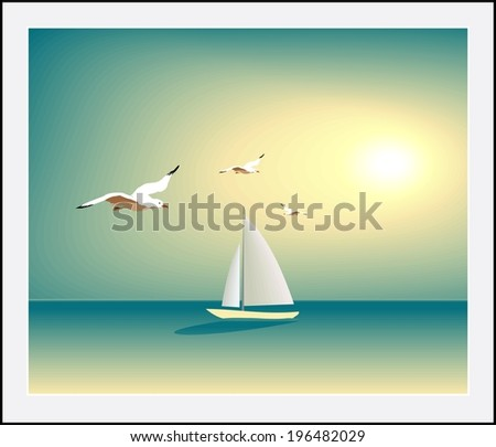 Yacht sailing against sunset. Holiday lifestyle landscape with skyline sailboat and three seagull. Vector illustration - stock vector