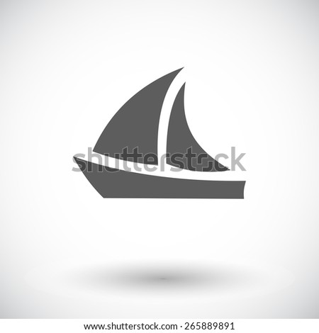 Yacht. Single flat icon on white background. Vector illustration. - stock vector