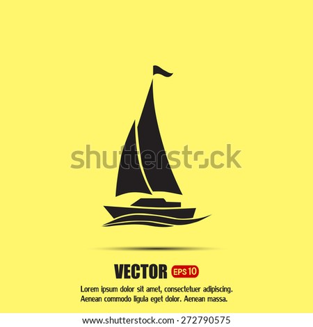 yacht vector icon - stock vector