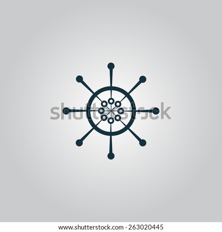 Yacht wheel. Helm silhouette. Flat web icon, sign or button isolated on grey background. Collection modern trend concept design style vector illustration symbol - stock vector