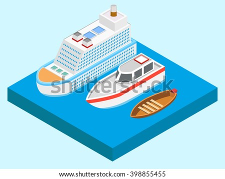 Yachts isometric icons set on water.vector illustration   - stock vector