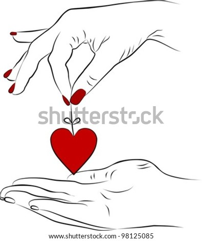 yang woman hand giving a heart, vector illustration - stock vector