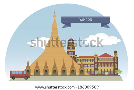 Yangon, Myanmar. For you design - stock vector