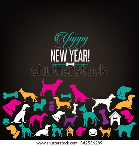 Yappy New Year dog silhouettes greeting card design. EPS 10 vector, grouped for easy editing. No open shapes or paths.