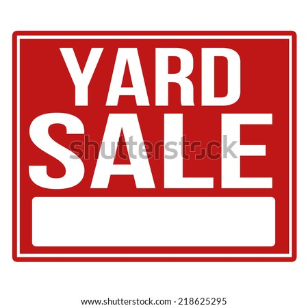 Yard sale red sign with copy space isolated on a white background, vector illustration - stock vector