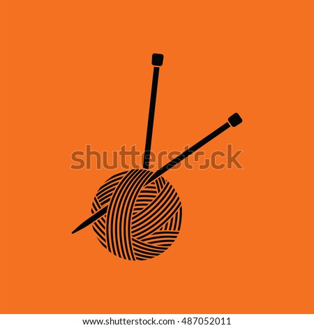 Yarn ball with knitting needles icon. Orange background with black. Vector illustration.